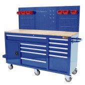 Etabli  d'atelier mobile 62 inch  à 10 tiroirs Bleu - George Tools