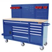 Etabli mobile d'atelier  62 inch  à 10 tiroirs Bleu - George Tools