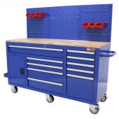 Etabli d'atelier  mobile rempli  62 inch bleu  - George Tools