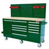 Etabli d'atelier mobile rempli 62 inch British Racing  Green (Vert)  - George Tools