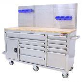 Etabli d'atelier mobile 62 inch à 10 tiroirs Inox - George Tools
