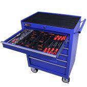 Servante mobile d'atelier remplie 6 tiroirs 80 pièces bleu - George Tools