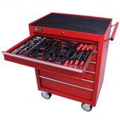 Servante mobile d'atelier remplie 6 tiroirs 80 pièces rouge - George Tools