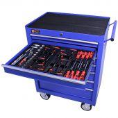 Servante mobile d'atelier remplie 7 tiroirs 80 pièces bleu - George Tools