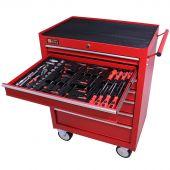 Servante mobile d'atelier remplie 7 tiroirs 80 pièces rouge - George Tools