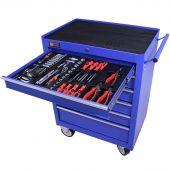 Servante mobile d'atelier remplie 6 tiroirs 144 pièces bleu - George Tools