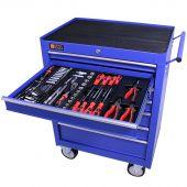 Servante mobile d'atelier remplie 7 tiroirs 144 pièces bleu  - George Tools