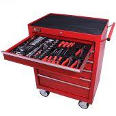 Servante mobile d'atelier remplie 6 tiroirs 144 pièces rouge - George Tools