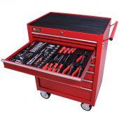 Servante mobile d'atelier remplie 7 tiroirs 144 pièces rouge - George Tools