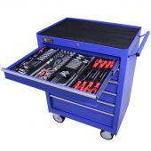 Servante mobile d'atelier remplie 6 tiroirs 209 pièces bleu - George Tools