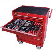 Servante mobile d'atelier remplie 7 tiroirs 209 pièces rouge - George Tools