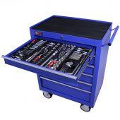 Servante mobile d'atelier remplie 6 tiroirs 253 pièces bleu - George Tools