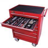 Servante mobile d'atelier remplie 7 tiroirs 253 pièces rouge - George Tools