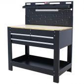 Etabli d'atelier avec panneau & LED 3 tiroirs Chêne 115 cm noir - George Tools
