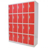 Vestiaire metallique 20 portes rouge – Kraftmeister
