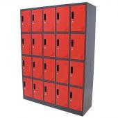 Vestiaire Metallique 20 portes rouge/anthracite – Kraftmeister
