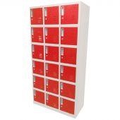 Vestiaire metallique 18 portes rouge – Kraftmeister