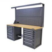Établi d'atelier avec panneau 12 tiroirs MDF 200 cm gris - Kraftmeister