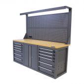 Établi d'atelier avec panneau 12 tiroirs 2 portes MDF 200 cm gris - Kraftmeister