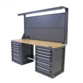 Établi d'atelier avec panneau 12 tiroirs Chêne 200 cm gris - Kraftmeister