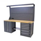 Établi d'atelier avec panneau 6 tiroirs 2 portes MDF 200 cm gris - Kraftmeister