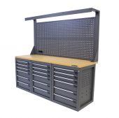 Établi d'atelier avec panneau 18 tiroirs MDF 200 cm gris - Kraftmeister