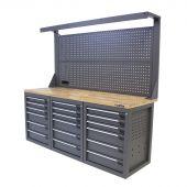 Établi d'atelier avec panneau 18 tiroirs chêne 200 cm gris - Kraftmeister