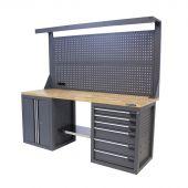 Établi d'atelier avec panneau 6 tiroirs 2 portes chêne 200 cm gris - Kraftmeister