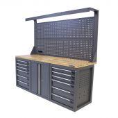Établi d'atelier avec panneau 12 tiroirs 2 portes chêne 200 cm gris - Kraftmeister