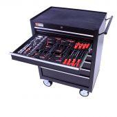 Servante mobile  d'atelier 26, remplie de 3 tiroirs  80 pièces – George Tools