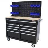 Etabli d'atelier mobile  46 inch 9 tiroirs noir - George Tools