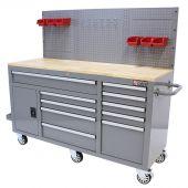 Etabli d'atelier mobile rempli  62 inch gris  - George Tools
