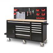 Etabli d'atelier mobile rempli  62 inch  noir -  George Tools